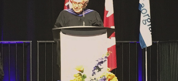 Maj.-Gen. Richard Rohmer speaks at the convocation ceremony at the Barrie Molson Centre on Tues., June 18, 2019 (CTV News/Sean Grech)