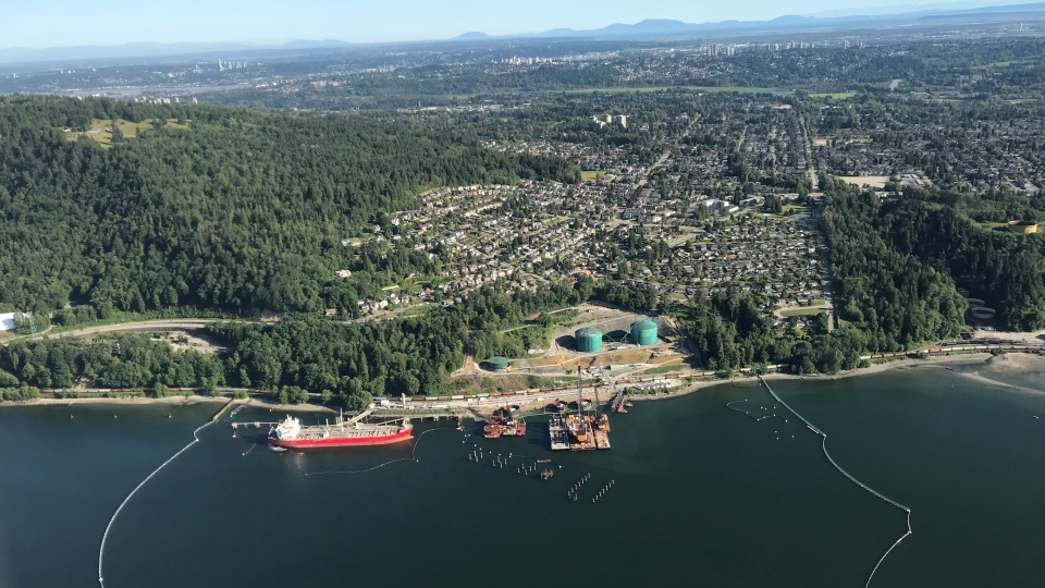 The Trans Mountain marine terminal, in Burnaby, B.C., is shown on Tuesday, June 18, 2019. (Murray Titus / CTV News Vancouver)