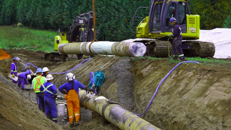 A new report by the Canadian Center for Policy Alternatives says the Trans Mountain pipeline expansion may not be needed. (File photo)