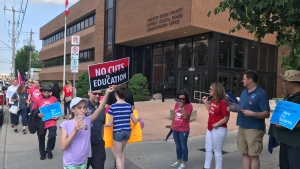 A number of people protested education cuts outside of the Greater Essex County District School Board office on June 18, 2019. ( Angelo Aversa / CTV Windsor )