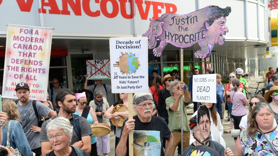 Protesters take part in a pipeline expansion demonstration in downtown Vancouver on Tuesday June 18, 2019. THE CANADIAN PRESS/Jonathan Hayward