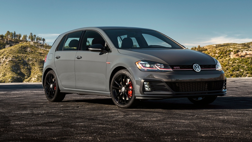 This undated photo provided by Volkswagen shows a 2019 Volkswagen Golf GTI, a hatchback that offers practicality along with a refined driving experience. (Volkswagen via AP)
