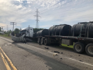 A tractor trailer is damaged following a two-vehicle crash in St. Clair Township, Ont. on Wednesday, June 12, 2019.