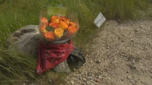 Flowers are placed at the site where a motorcyclist collided with a deer on Nova Scotia's Highway 103 on June 18, 2019. The man died at the scene.