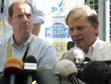 Chairman of the Tour de France, Patrice Clerc, right, and Tour Director Christian Prudhomme face the media on Thursday, July 26, 2007. (AP / Christophe Ena)