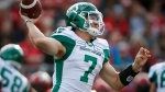 Saskatchewan Roughriders quarterback Cody Fajardo throws the ball during CFL pre-season football action against the Calgary Stampeders in Calgary, Friday, May 31, 2019.THE CANADIAN PRESS/Jeff McIntosh