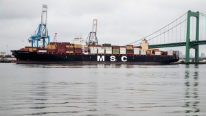 The MSC Gayane is moored at the Packer Marine Terminal in Philadelphia, Wednesday, June 19, 2019. U.S. authorities say they have seized more than $1 billion worth of cocaine from the container ship at Philadelphia's port, calling it one of the largest drug busts in American history. (AP Photo/Matt Rourke)