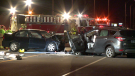 Three people were badly hurt when one driver veered out of his lane and rammed another car on June 18, 2019 (CTV Montreal/Cosmo Santamaria)