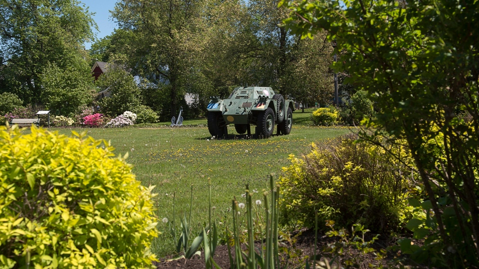 A Ferret Scout Car, used by the Canadian military, is seen at the Sackville Memorial Park in Sackville, New Brunswick on Wednesday, June 19, 2019. THE CANADIAN PRESS/Andrew Vaughan