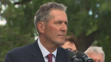 Brian Pallister is pictured at the election announ