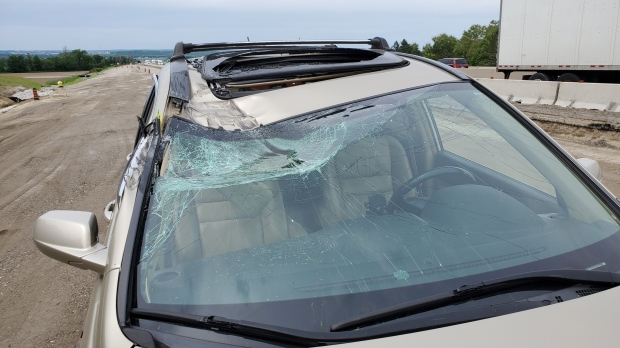 Highway 400 windshield smashed