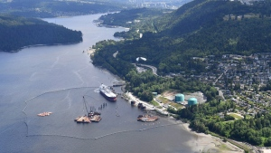 A aerial view of Kinder Morgan's Trans Mountain marine terminal, in Burnaby, B.C., is shown on Tuesday, May 29, 2018. THE CANADIAN PRESS Jonathan Hayward