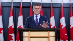 Conservative Leader Andrew Scheer reacts to Prime Minister Justin Trudeau's announcement regarding the government's decision on the Trans Mountain Expansion Project in Ottawa on Tuesday, June 18, 2019. THE CANADIAN PRESS/Sean Kilpatrick