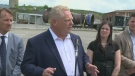 Premier Ford greeted by protesters in Sudbury