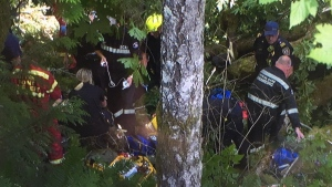 Rescuers at the scene near Camp Barnard. (CTV Vancouver Island)