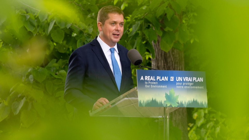 Conservative Leader Andrew Scheer is seen at an event announcing his party's climate plan.