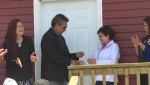 Gloria Pelley was given the keys to her new tiny house on Wednesday.
