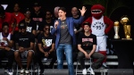 Prime Minister Justin Trudeau speaks on stage during the 2019 Toronto Raptors Championship parade in Toronto, on Monday, June 17, 2019. THE CANADIAN PRESS/Nathan Denette