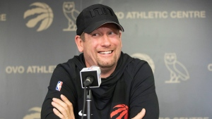 Toronto Raptors Head Coach Nick Nurse takes questions from the media in Toronto on Sunday, June 16, 2019. THE CANADIAN PRESS/Chris Young