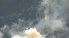 Helicopters and air tankers responded to a wildfire near Port Mellon on the Sunshine Coast Wednesday afternoon. (CTV)