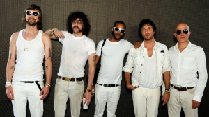 Philippe Zdar (second right) died after falling from a window in Paris. DJ Mehdi (to his right) died in similar circumstances in 2011. (AFP)