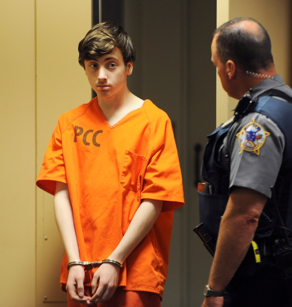 Kayden McIntosh, 16, appears in a Superior courtroom for his arraignment in the Nesbett Courthouse on Tuesday, June 18, 2019. (Bill Roth/Anchorage Daily News via AP)