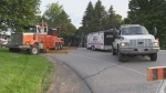 Truck rollover in North Dumfries