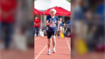 "Julia ""Hurricane"" Hawkins is photographed running in the 100-metre dash during the U.S. National Senior Games in New Mexico. (National Senior Games Association)"