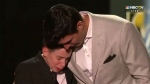 Montreal Canadiens goaltender Carey Price (right) is seen embracing 11-year-old Anderson Whitehead on stage at the 2019 NHL Awards in Las Vegas on June 19, 2019. (Twitter / @NHL)