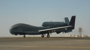 In this Feb. 13, 2018, photo released by the U.S. Air Force, an RQ-4 Global Hawk is seen on the tarmac of Al-Dhafra Air Base near Abu Dhabi, United Arab Emirates. (Airman 1st Class D. Blake Browning/U.S. Air Force via AP)