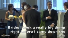 Funny moment between bride and groom