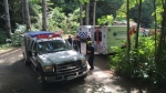 Emergency crews respond to a tragedy at Camp Barnard on Vancouver Island, where a teenager was killed by a falling tree Wednesday.