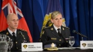 Ontario Provincial Police Inspector Tina Chalk reacts during a question from the media during a press conference in Vaughan, Ont., on Thursday, June 20, 2019. Multiple charges have been laid following an international investigation into an Ontario-based child pornography ring. THE CANADIAN PRESS/Andrew Lahodynskyj