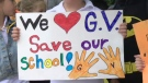 Students and parents formed a human chain around General Vanier School on Thur., June 20, 2019 to protest the forced transfer of the school to an overcrowded French board.
