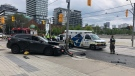 A pedestrian was struck and killed by a vehicle in the area of Regent Park Boulevard and Dundas Street East on Thursday, June 20, 2019. (Ken Dishman/ CTV News Toronto)