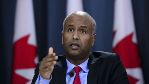 Minister of Immigration, Refugees and Citizenship Ahmed Hussen responds to the 2019 Spring Reports of the Auditor General in Ottawa on Tuesday, May 7, 2019. (THE CANADIAN PRESS/Sean Kilpatrick)