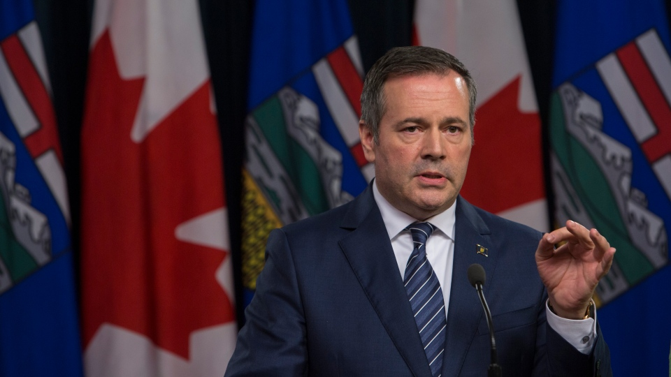 Alberta Premier Jason Kenney responds to the federal approval of the Trans Mountain Pipeline in Edmonton, Alberta, on Tuesday June 18, 2019. (THE CANADIAN PRESS/Amber Bracken)