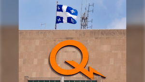 A Hydro-Quebec logo is seen on their head office building, February 26, 2015 in Montreal. Newfoundland and Labrador has achieved a rare win in its longstanding battle with Hydro-Quebec over a 50-year-old agreement on sales of Churchill Falls power. The Quebec Court of Appeal says in a ruling that Churchill Falls Corp. Ltd., a subsidiary of Newfoundland's Crown corporation overseeing hydroelectricity, has the right to sell energy produced above a certain threshold. (THE CANADIAN PRESS/Ryan Remiorz)