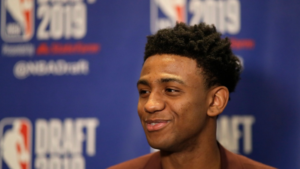 Nickeil Alexander-Walker, a sophomore basketball player from Virginia Tech, attends the NBA Draft media availability, Wednesday, June 19, 2019, in New York. The draft will be held Thursday, June 20. (AP Photo/Mark Lennihan)
