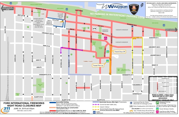 Road closures planned in Windsor for 2019 Ford Fireworks