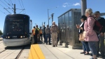 The first ION train pulling up to the Conestoga Mall station. (Rosie Del Campo / CTV Kitchener)