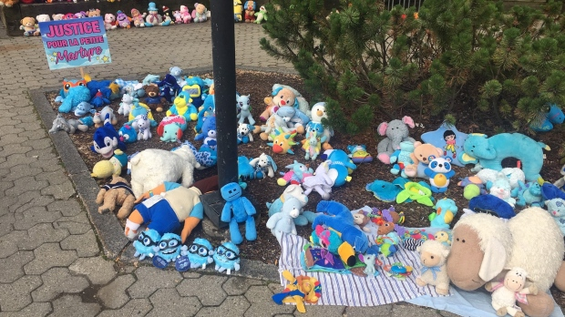 A memorial to commemorate the young girl who died earlier this year is shown outside the courthouse in Granby, Que., on Friday June 21, 2019. THE CANADIAN PRESS/Pierre Saint-Arnaud