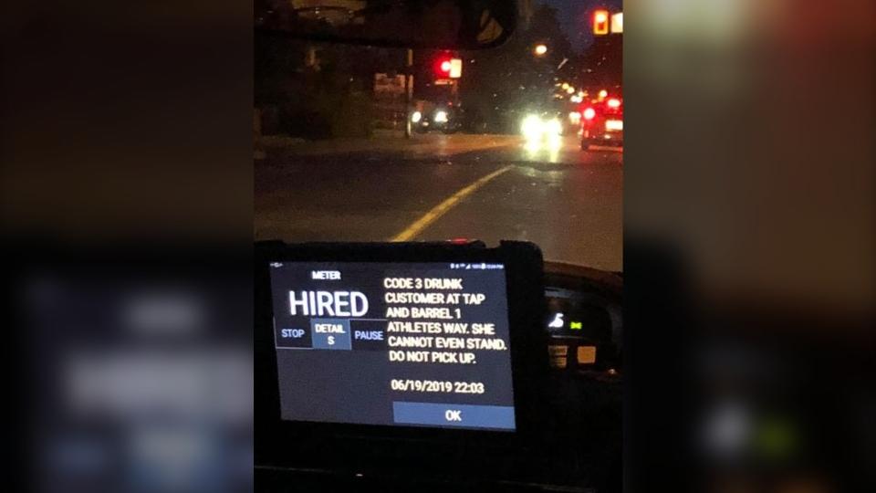 cab dispatch message