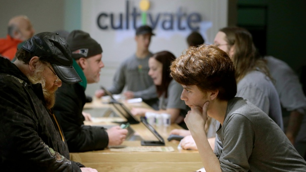 In this Nov. 20, 2018 file photograph customers purchase recreational marijuana at the Cultivate dispensary on the first day of legal sales in Leicester, Massachusetts, Tuesday, Nov. 20, 2018. (AP Photo/Steven Senne)