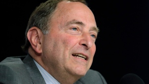 FILE - In this June 6, 2019, file photo, NHL Commissioner Gary Bettman speaks during a news conference before Game 5 of the NHL hockey Stanley Cup Final between the St. Louis Blues and the Boston Bruins in Boston.  (AP Photo/Charles Krupa, File)