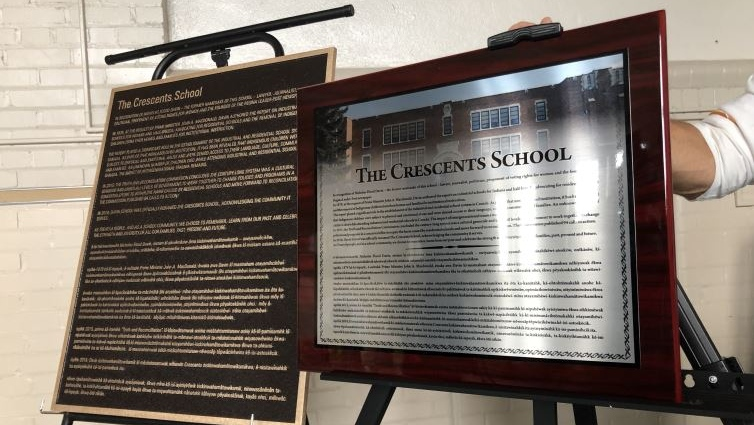 Two plaques were unveiled at The Crescents School to remind people about the history behind its former name 'Davin School.' (Brendan Ellis / CTV Regina).