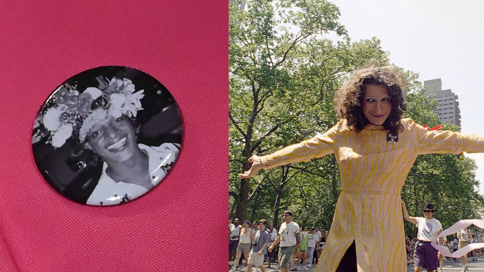 In this composite image, transgender activist Marsha P. Johnson is depicted on a button, and activist Sylvia Rivera is pictured in New York City. ( TIMOTHY A. CLARY/AFP/Getty Images / AP Photo, Justin Sutcliffe)