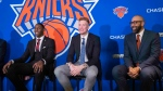 New York Knicks NBA basketball drafts picks RJ Barrett, left, Ignas Brazdeikis, center, and head coach David Fizdale smile during a news conference, Friday, June 21, 2019, at Madison Square Garden in New York. (AP Photo/Mary Altaffer)