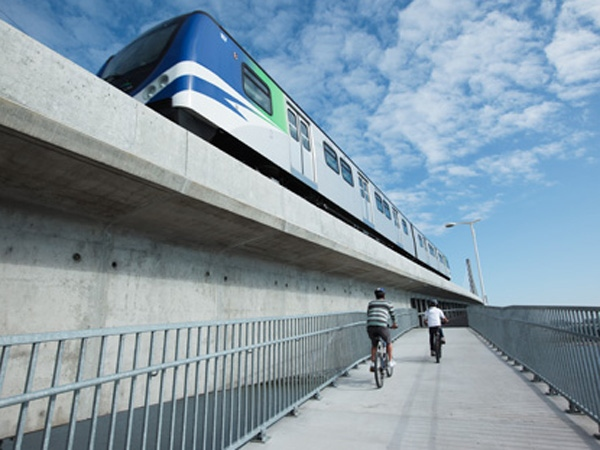 The $10-million pedestrian-cyclist bridge connecting Richmond to Vancouver took two years to compete. August 14, 2009. (TransLink)
