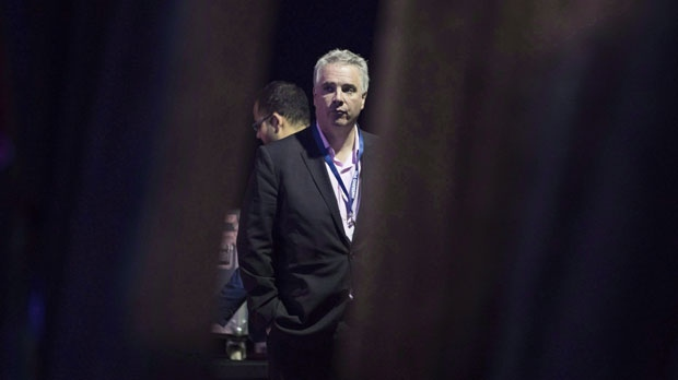 Dean French stands behind a curtain as he listens to introductions at the Ontario PC Convention in Toronto, on Friday, Nov. 16, 2018. (THE CANADIAN PRESS/Chris Young)